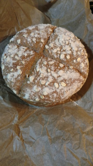 The neighbor brought over sprouted Emmer bread